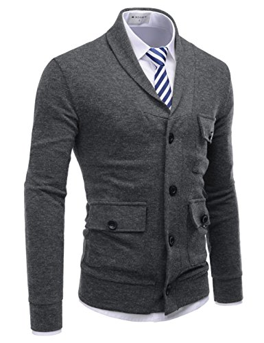 - NEARKIN (NKNKCD133 Beloved Mens City Casual Shawl Collar Urbane Knitted Cardigan Charcoal US XS(Tag Size XS)