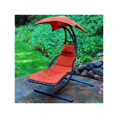 Algoma Cloud 9 Hanging Lounger - Contemporary designed hanging chaise lounge Removable pad and pillow made of polyester fabric with poly fiber stuffing, secures to stand with ties Heavy duty steel frame with powder coated finish - patio-furniture, patio-chairs, patio - 51Wsimt2zAL. SS400  -