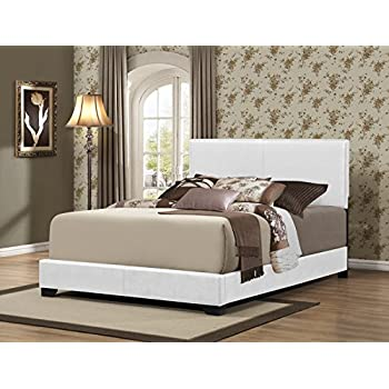 Furniture World Preston Contemporary Upholstered Bed, Full, White