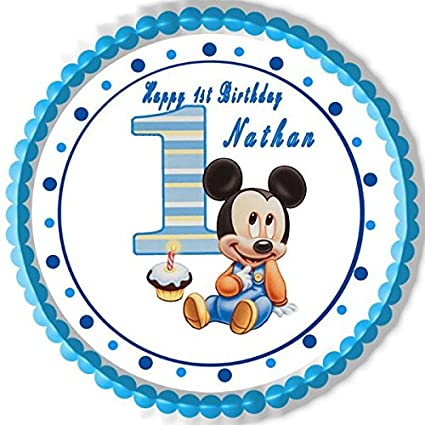 Amazon Com Baby Mickey Mouse 1st Birthday Edible Cake Topper 6