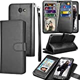 Tekcoo Compatible for Galaxy J7 Sky Pro / J7 V / J7 Prime / J7 Perx/Samsung Halo / J7 2017 PU Leather Wallet Case, Credit Card Slots Carrying Flip Cover [Detachable Magnetic Case] Kickstand Black