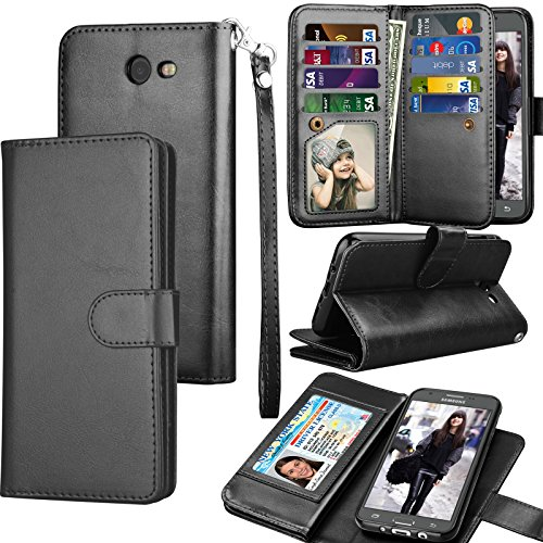 Galaxy J7 Sky Pro / J7 V Case, J7 Prime / J7 Perx Wallet Case, Samsung Halo / J7 2017 PU Leather Case, Tekcoo Credit Card Slots Carrying Folio Flip - Mobile International T Mall
