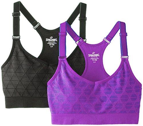 Spalding Women's 2-Pack Seamless Adjustable Cami Bra Top, Deep Black Asphalt/Purple Shock Rally Blue, X-Large