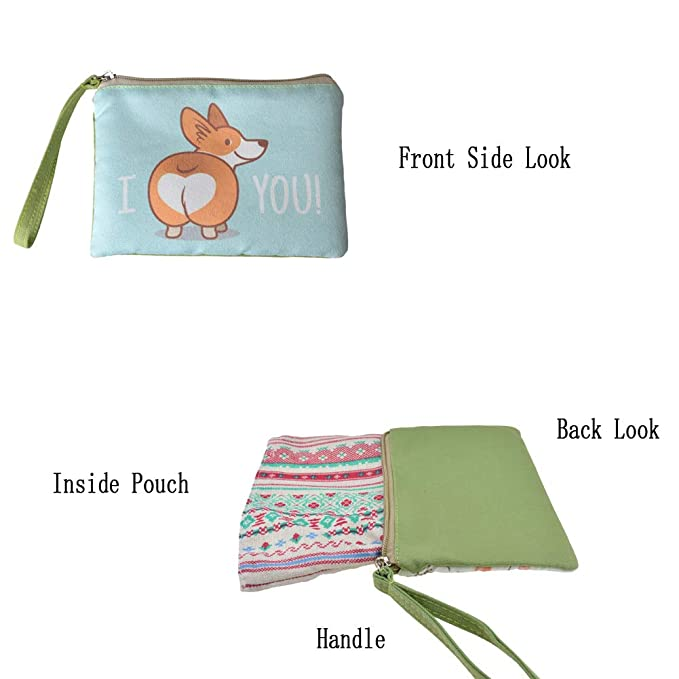 Coin Pouch Cats Pattern Lot Of Funny Canvas Coin Purse Cellphone Card Bag With Handle And Zipper