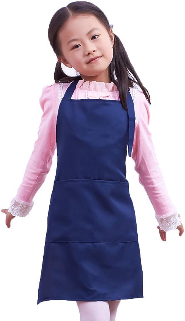 LissomPlume Kind Malsch/ürze Kunstkittel Kindersch/ürze Kochsch/ürze Arbeitssch/ürze Painting Supplies mit zwei Taschen