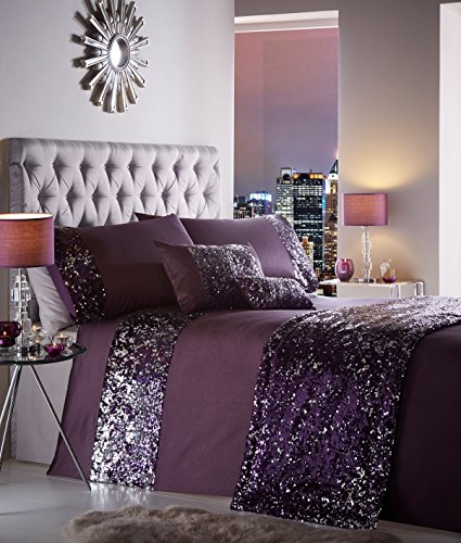 Portofino Comforter Set - Dazzle Luxury Sequin Duvet Quilt Cover Bedding Set Amethyst - UK King / US Queen