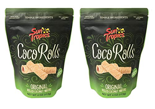 Sun Tropics Rolled Coconut Wafer Rolls 4oz, 2 Pack