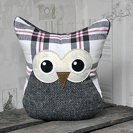 Grey Check Fabric Owl Door Stop Doorstop
