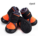 Hdwk&Hped Professional Dog Hiking Shoes, Small Meium Large Dog Outdoor Boots with Waterproof Vamp Adjustable Strap Anti-Slip Sole Orange #90