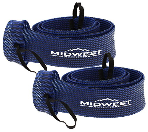 Spinning Fishing Rod Sleeve Rod Sock Cover 2 Pack By Midwest Outfitters (Black/Blue) (Tube Case Socks)