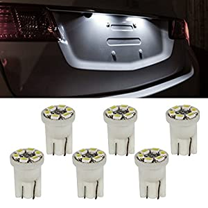 Partsam 6pcs T10 Wedge License Plate Frame Tag Light White 6-SMD LED Bulb 168 194 2825