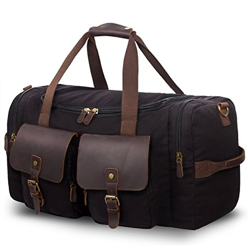 SUVOM Leather Overnight Duffle Bag Canvas Travel Tote Duffel Weekend Bag Luggage (Black)