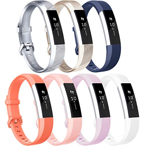 Vancle Compatible with for Fitbit Alta HR Bands for Women Men, Replacement Bands with Metal Buckle for Fitbit Alta HR and Fitbit Alta (#04, Silver Gold Blue Coral Pink Lavender White, Large)