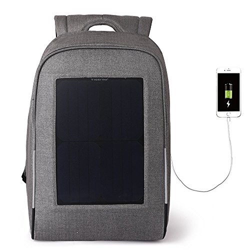 Tigernu 10W Solar Backpack Anti Theft 15.6 Laptop Backpack with USB Charging Port (Light Gray) by TIGERNU (Image #9)