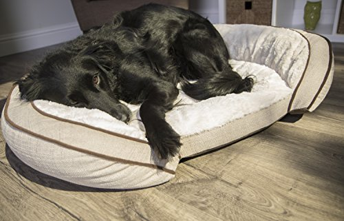 Sterling Premium Cooling Gel Memory Foam Pet Bed, Plush with Woven Linen, Beige by Sterling (Image #8)