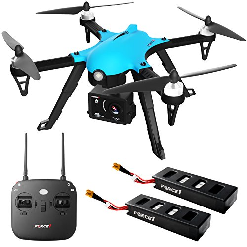 Brushless Drone with Camera for Adults - Force 1 Drone F100 Ghost Drone Compatible GoPro Camera Drones with HD 1080p Drone Camera and Extra Long Range Drone Battery