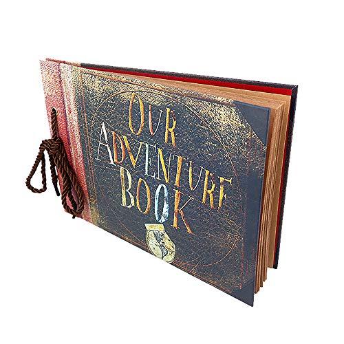 Photo Album Scrapbook Gift DIY Handmade Album Scrapbook Movie Up Travel Scrapbook for Anniversary Suitable for Lover Friends and Kids etc (Upgrade Retro Version)
