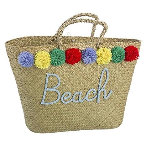 D,casa Capazo de rafia natural para playa bombones iris: Amazon.es: Hogar