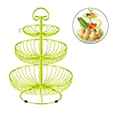 3 Tier Metal Wire Fruit Vegetable Basket Tower Decorative Fruit Basket Countertop Stand Kitchen Counter Produce Organizer with Top Handle (Green)