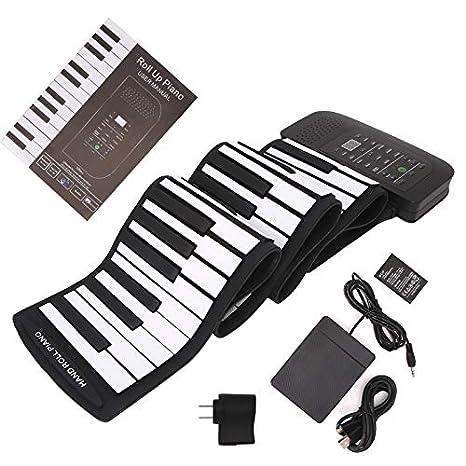 Bright Love Portátil 88 Teclas De Teclado De Piano Silicona Flexible Roll Up Piano Teclado Plegable Piano-Liar con Batería Pedal De Sustain: Amazon.es: ...