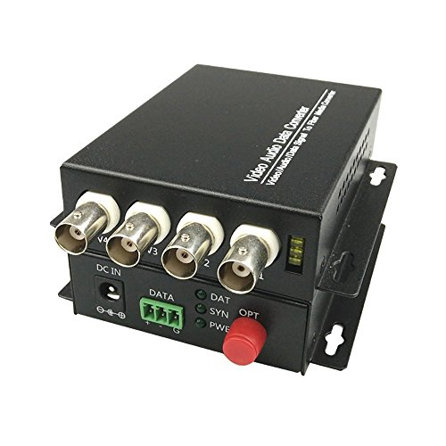 Guantai 4 Channels Video Fiber Optic Optical Converter Transmitter/Receiver,FC Singlemode Working Distance 20Km, for CCTV Surveillance Security ()