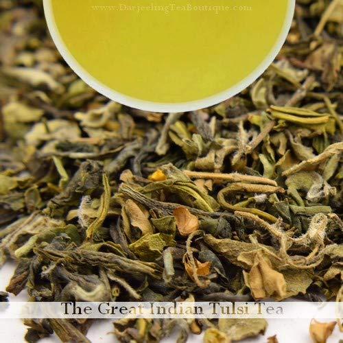 (Indian Tulsi (Holy Basil) Organic Green Tea, 100gm (3.52oz) Herbal Loose Leaf Tea by Darjeeling Tea Boutique)
