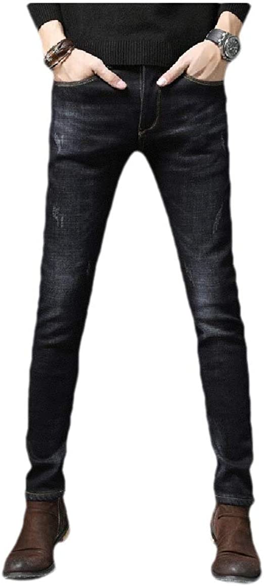 VITryst Mens Comfy Thicken Fleece Solid Colored Bodycon Wash Pocketed Jean Pant
