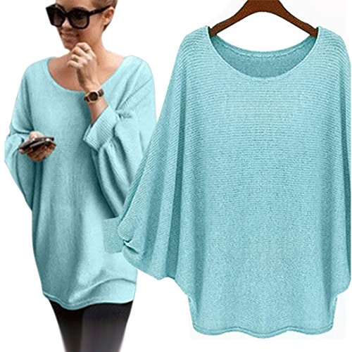 ALAIX Womens Round Neck Oversized Batwing Knitted Pullover Top Loose Sweater Jumper Green (Wide Collar Cropped Jacket)