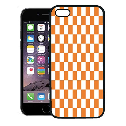 Semtomn Phone Case for iPhone 8 Plus case,Red Check Orange White Checkerboard Pattern Chequered Chess Abstract iPhone 7 Plus case Cover,Black -