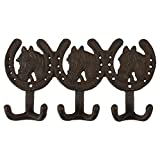 Cast Iron Hooks – Rustic Horse Design Cast Iron Hooks – Decorative Wall Mounted Hanger for Hats, Jackets, Kitchen Utensils, Bathroom Towels, 6 Hooks, 10.6 x 5.7 Inches