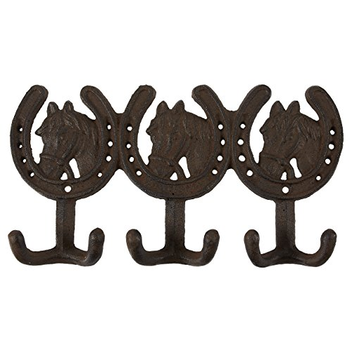 Kitchen Decor Horse (Cast Iron Hooks - Rustic Horse Design Cast Iron Hooks - Decorative Wall Mounted Hanger for Hats, Jackets, Kitchen Utensils, Bathroom Towels, 6 Hooks, 10.6 x 5.7 Inches)