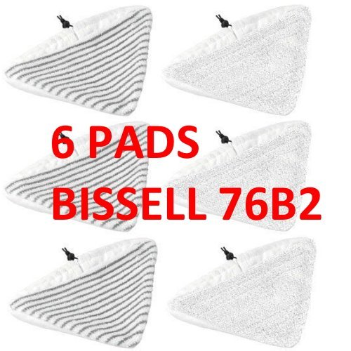 6 PACK BISSELL Steam Mop Select Replacement Pads, 2 pk, 76B2A Fit 94E9 compatible by Bissell