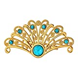 U7 Women 18K Gold Plated Turquoise Chinese Fan Peacock Tial Custom Jewelry Pin Brooch