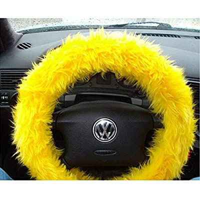 Multicolor Fuzzy Steering Wheel Cover Car Accessories Universal Fit Car Steering Wheel Gear Shift Cover Handbrake Cover (Yellow): Automotive