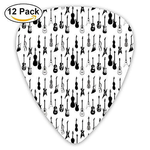 Oswald Carnegie Strings Various Types Acoustic And Electronic Guitar Cello Violin Funny Humorous Slogan Pictogram Style Guitar Picks 12/Pack Set, Acoustic Guitar