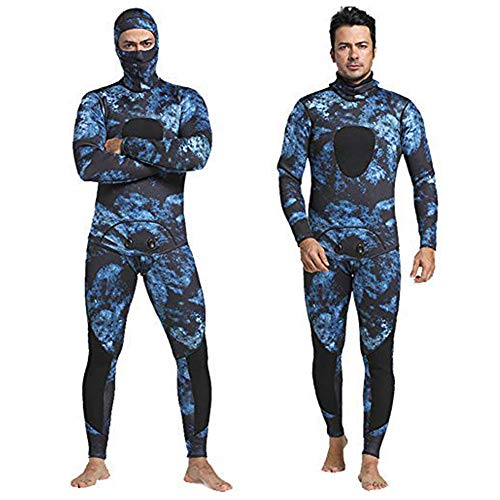 Nataly Osmann Camo Spearfishing Wetsuits Men 3mm /1.5mm Neoprene 2-Pieces Hooded Long Sleeve Scuba Diving Suit Full Body Keep Warm Snorkeling Suits