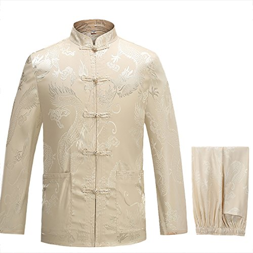 KIKIGOAL Mens Martial Arts Kung Fu Uniform Long Sleeve Tang Suit With Dargon Pattern (M, beige) by KIKIGOAL