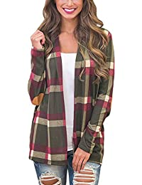 Women's Plaid Print Long Sleeve Elbow Patch Draped Open Front Cardigan Sweater