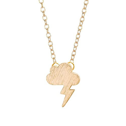 2c4283149a5f Amazon.com: CHUYUN Gold Silver Storm Tiny Cloud Lightning Weather Pendant  Necklace for Women (Gold Plated): Jewelry