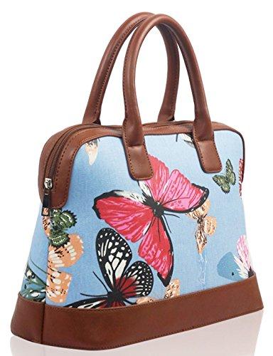 Polvere Sacchetto Floreale Cane Kukubird Blue Satchel Kukubird Opaca Vari Gatto Butterfly Tela Bassotto Uccello Farfalla Di Di Barboncino Bowling Con Bag Light Stampa vvZxT