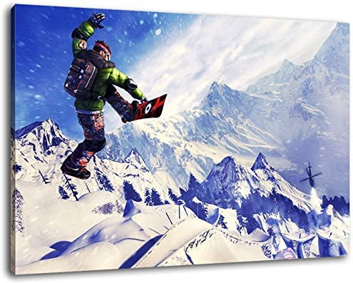 covered painting on canvas cheaper than painting or picture Size: 100x70 cm art print on wall picture with frame huge XXL images fully and completely framed with stretcher Extreme Sports no posters or poster Snowboard Stunt