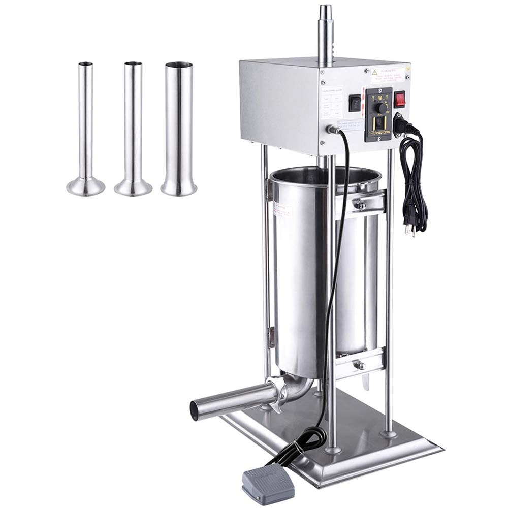 WeChef Commercial Electric Sausage Stuffer Machine 15L Vertical Stainless Steel Meat Filler 4 Stuffing Tubes Restaurant by WeChef