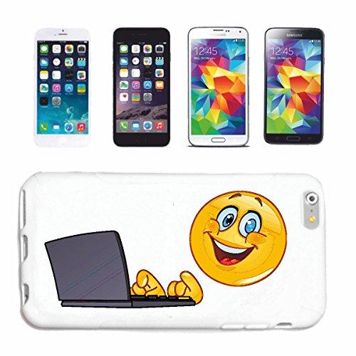 """cas de téléphone Samsung Galaxy S4 Mini """"SMILEY TRAVAIL RIRE AT LAPTOP """"sourire EMOTICON APP de SMILEYS SMILIES ANDROID IPHONE EMOTICONS IOS"""" Hard Case Cover Téléphone Covers Smart Cover pour Samsung"""