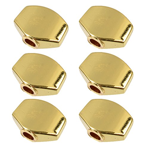 6Pcs Metal Small Square Shape Guitar Tuning Peg Tuners Machine Head Replacemen Buttons knob Handle (Gold Guitar Replacement)