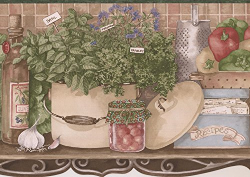 Kitchen Shelf Fruit Veggies Baskets Kettle Recipe Box Vintage Tan Wallpaper Border Retro Design, Roll 15' x 6.5''