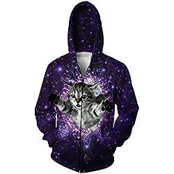 Uideazone Men's 3d Galaxy Cat Fly Graphic Hoodie Zip-up Jackets Coat