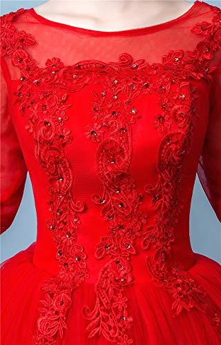 Embarazadas El De Se Qi La Redondo Simples Casaron Vestido Mujeres De Princesa WFL Boda del Rojas De Cuello rojo con Las Tamaño Novia Gran Princesa Ptz6Ewq