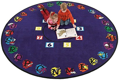 Flagship Carpet Children Learning Floor Playmat Nylon Super Circle - 6' Toys Christmas Gift