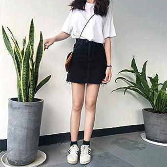 DER Falda Coreana de Cintura Alta, Delgada, Color Negro: Amazon.es ...