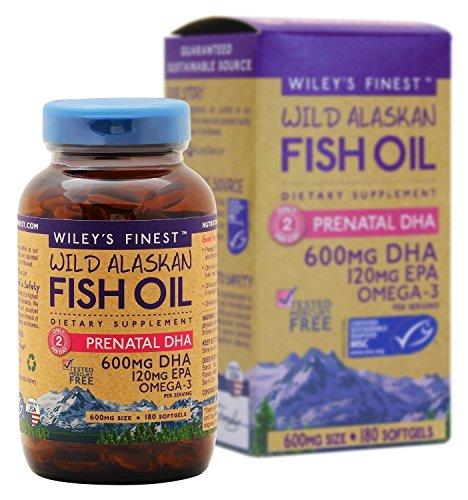 Wiley de - aceite de pescado salvaje de Alaska: Prenatal DHA DHA - Omega 3 suplemento - de 600mg 180 cápsulas